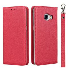 Ultra Slim Magnetic Automatic Suction Silk Lanyard Leather Flip Cover for Docomo Galaxy Feel SC-04J - Red