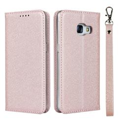 Ultra Slim Magnetic Automatic Suction Silk Lanyard Leather Flip Cover for Docomo Galaxy Feel SC-04J - Rose Gold