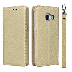 Ultra Slim Magnetic Automatic Suction Silk Lanyard Leather Flip Cover for Docomo Galaxy Feel SC-04J - Golden