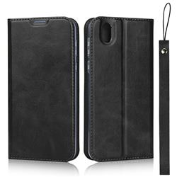 Calf Pattern Magnetic Automatic Suction Leather Wallet Case for Sharp AQUOS sense SH-01K / SHV40 - Black
