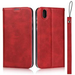 Calf Pattern Magnetic Automatic Suction Leather Wallet Case for Sharp AQUOS sense SH-01K / SHV40 - Red
