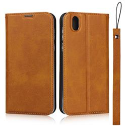 Calf Pattern Magnetic Automatic Suction Leather Wallet Case for Sharp AQUOS sense SH-01K / SHV40 - Brown