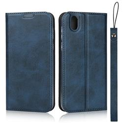 Calf Pattern Magnetic Automatic Suction Leather Wallet Case for Sharp AQUOS sense SH-01K / SHV40 - Blue