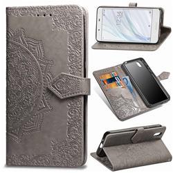 Embossing Imprint Mandala Flower Leather Wallet Case for Sharp AQUOS sense SH-01K / SHV40 - Gray