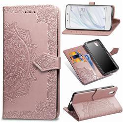 Embossing Imprint Mandala Flower Leather Wallet Case for Sharp AQUOS sense SH-01K / SHV40 - Rose Gold