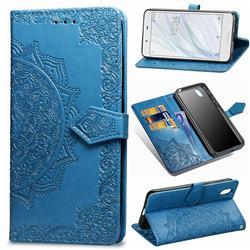 Embossing Imprint Mandala Flower Leather Wallet Case for Sharp AQUOS sense SH-01K / SHV40 - Blue