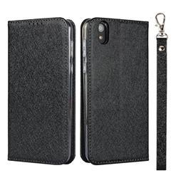 Ultra Slim Magnetic Automatic Suction Silk Lanyard Leather Flip Cover for Sharp AQUOS sense SH-01K / SHV40 - Black