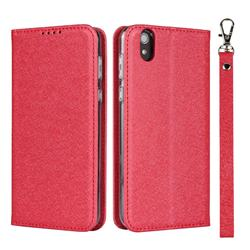 Ultra Slim Magnetic Automatic Suction Silk Lanyard Leather Flip Cover for Sharp AQUOS sense SH-01K / SHV40 - Red