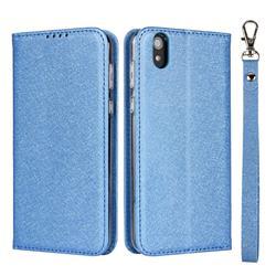 Ultra Slim Magnetic Automatic Suction Silk Lanyard Leather Flip Cover for Sharp AQUOS sense SH-01K / SHV40 - Sky Blue