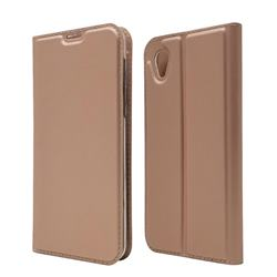 Ultra Slim Card Magnetic Automatic Suction Leather Wallet Case for Sharp AQUOS sense2 SH-01L SHV43 - Rose Gold