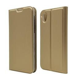 Ultra Slim Card Magnetic Automatic Suction Leather Wallet Case for Sharp AQUOS sense2 SH-01L SHV43 - Champagne