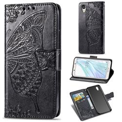 Embossing Mandala Flower Butterfly Leather Wallet Case for Sharp AQUOS sense2 SH-01L SHV43 - Black