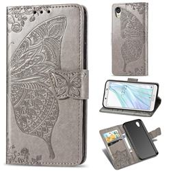 Embossing Mandala Flower Butterfly Leather Wallet Case for Sharp AQUOS sense2 SH-01L SHV43 - Gray
