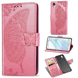 Embossing Mandala Flower Butterfly Leather Wallet Case for Sharp AQUOS sense2 SH-01L SHV43 - Pink