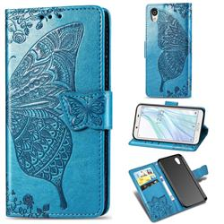Embossing Mandala Flower Butterfly Leather Wallet Case for Sharp AQUOS sense2 SH-01L SHV43 - Blue