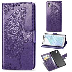 Embossing Mandala Flower Butterfly Leather Wallet Case for Sharp AQUOS sense2 SH-01L SHV43 - Dark Purple