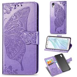 Embossing Mandala Flower Butterfly Leather Wallet Case for Sharp AQUOS sense2 SH-01L SHV43 - Light Purple