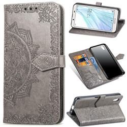 Embossing Imprint Mandala Flower Leather Wallet Case for Sharp AQUOS sense2 SH-01L SHV43 - Gray