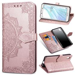 Embossing Imprint Mandala Flower Leather Wallet Case for Sharp AQUOS sense2 SH-01L SHV43 - Rose Gold