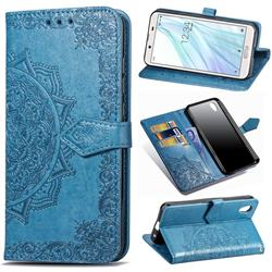 Embossing Imprint Mandala Flower Leather Wallet Case for Sharp AQUOS sense2 SH-01L SHV43 - Blue