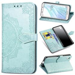 Embossing Imprint Mandala Flower Leather Wallet Case for Sharp AQUOS sense2 SH-01L SHV43 - Green