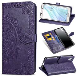 Embossing Imprint Mandala Flower Leather Wallet Case for Sharp AQUOS sense2 SH-01L SHV43 - Purple