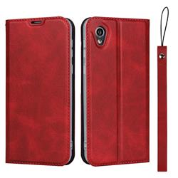 Calf Pattern Magnetic Automatic Suction Leather Wallet Case for Sharp AQUOS sense2 SH-01L SHV43 - Red