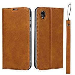 Calf Pattern Magnetic Automatic Suction Leather Wallet Case for Sharp AQUOS sense2 SH-01L SHV43 - Brown