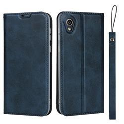 Calf Pattern Magnetic Automatic Suction Leather Wallet Case for Sharp AQUOS sense2 SH-01L SHV43 - Blue