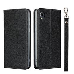 Ultra Slim Magnetic Automatic Suction Silk Lanyard Leather Flip Cover for Sharp AQUOS sense2 SH-01L SHV43 - Black