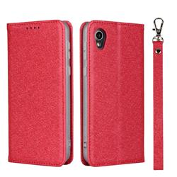 Ultra Slim Magnetic Automatic Suction Silk Lanyard Leather Flip Cover for Sharp AQUOS sense2 SH-01L SHV43 - Red
