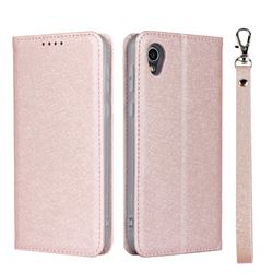 Ultra Slim Magnetic Automatic Suction Silk Lanyard Leather Flip Cover for Sharp AQUOS sense2 SH-01L SHV43 - Rose Gold