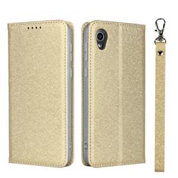 Ultra Slim Magnetic Automatic Suction Silk Lanyard Leather Flip Cover for Sharp AQUOS sense2 SH-01L SHV43 - Golden