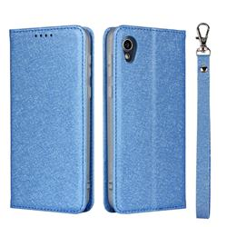 Ultra Slim Magnetic Automatic Suction Silk Lanyard Leather Flip Cover for Sharp AQUOS sense2 SH-01L SHV43 - Sky Blue
