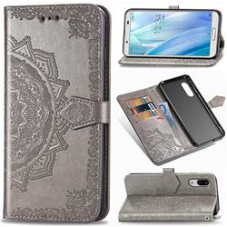 Embossing Imprint Mandala Flower Leather Wallet Case for Sharp AQUOS sense3 SH-02M SHV45 - Gray