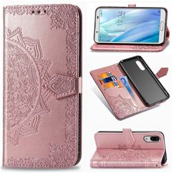 Embossing Imprint Mandala Flower Leather Wallet Case for Sharp AQUOS sense3 SH-02M SHV45 - Rose Gold