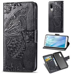 Embossing Mandala Flower Butterfly Leather Wallet Case for Sharp AQUOS sense3 SH-02M SHV45 - Black