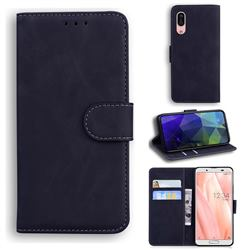 Retro Classic Skin Feel Leather Wallet Phone Case for Sharp AQUOS sense3 SH-02M SHV45 - Black