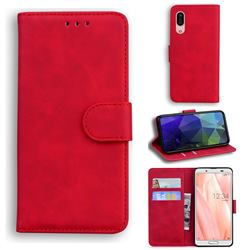 Retro Classic Skin Feel Leather Wallet Phone Case for Sharp AQUOS sense3 SH-02M SHV45 - Red
