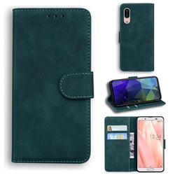Retro Classic Skin Feel Leather Wallet Phone Case for Sharp AQUOS sense3 SH-02M SHV45 - Green