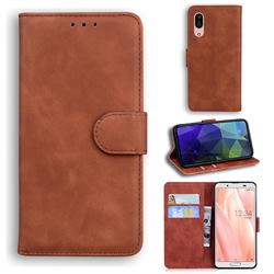 Retro Classic Skin Feel Leather Wallet Phone Case for Sharp AQUOS sense3 SH-02M SHV45 - Brown