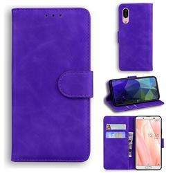 Retro Classic Skin Feel Leather Wallet Phone Case for Sharp AQUOS sense3 SH-02M SHV45 - Purple