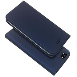 Ultra Slim Card Magnetic Automatic Suction Leather Wallet Case for Docomo AQUOS R SH-03J / SHV39 - Royal Blue