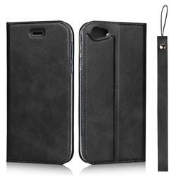 Calf Pattern Magnetic Automatic Suction Leather Wallet Case for Sharp AQUOS R SH-03J / SHV39 - Black