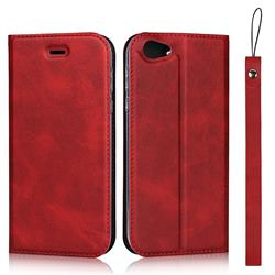 Calf Pattern Magnetic Automatic Suction Leather Wallet Case for Sharp AQUOS R SH-03J / SHV39 - Red