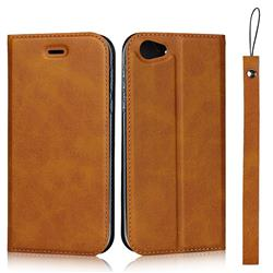 Calf Pattern Magnetic Automatic Suction Leather Wallet Case for Sharp AQUOS R SH-03J / SHV39 - Brown