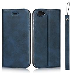 Calf Pattern Magnetic Automatic Suction Leather Wallet Case for Sharp AQUOS R SH-03J / SHV39 - Blue