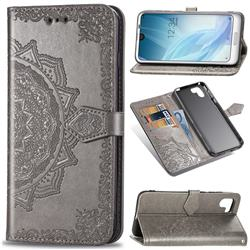 Embossing Imprint Mandala Flower Leather Wallet Case for Sharp AQUOS R2 SH-03K SHV42 - Gray