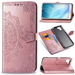 Embossing Imprint Mandala Flower Leather Wallet Case for Sharp AQUOS R2 SH-03K SHV42 - Rose Gold