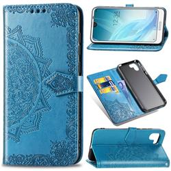 Embossing Imprint Mandala Flower Leather Wallet Case for Sharp AQUOS R2 SH-03K SHV42 - Blue